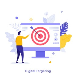 Man looking at computer screen with shooting target and arrow in center. Concept of digital targeting marketing strategy, business goal, objective of startup project. Modern flat vector illustration.