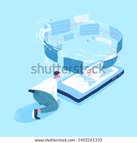 Man looking at giant smartphone and vortex of messages. Concept of information flow, internet communication via messenger, data transfer, online instant messaging. Modern flat vector illustration.