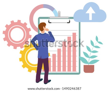 Man looking at growing graphs at clipboard, cloud storage sign, cogwheels and plant in pot. Vector male manager back view, financial statistics, business education. Vector illustration in flat cartoon