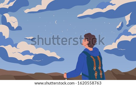 Man looking at night starry sky flat vector illustration. Self discovery, opportunity observation metaphor. Inspiration and imagination concept. Backpacker traveling cartoon composition.
