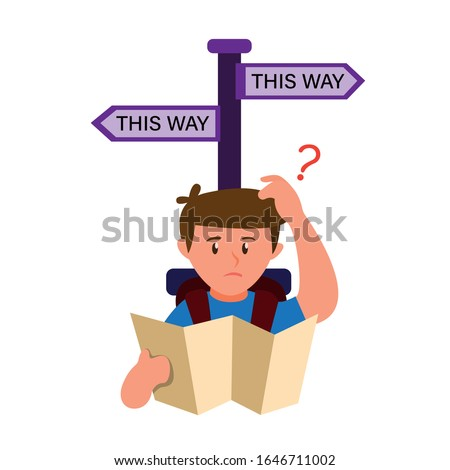 man looking map confusing