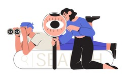 Man looking through binoculars and a woman through magnifying glass or loupe. Business metaphore for search or research, development, web surfing. Trendy outline characters for web or ui design.