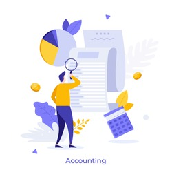 Man looking through magnifying glass at bill, check or invoice. Concept of accounting and auditing service for business, budget planning, revenue calculation. Modern flat colorful vector illustration.