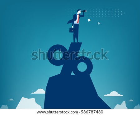 Man looking through telescope standing on top of percentage sign. Concept business illustration
