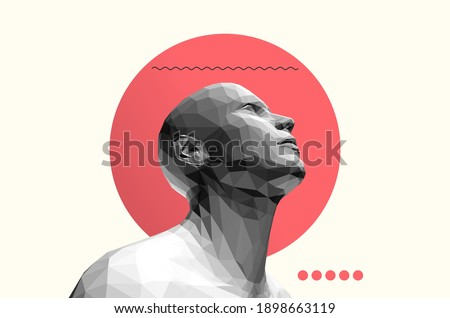 Man looking up. Abstract digital human head. Face side view. Minimalistic design for business presentations, flyers or posters. 3d vector illustration.