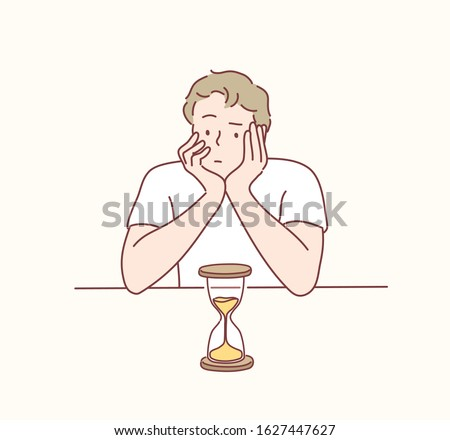 Man looks at the hourglass, thinking, planning and focus in actions. Man worrying about deadline terms. Hand drawn style vector design illustrations.
