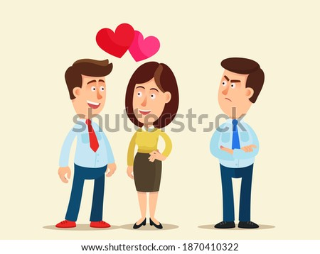 Man looks enviously at a couple in love. Young man is envious and jealous of friend. Love triangle. Сompetition between friends. Vector illustration, flat design, cartoon style, isolated background. Stockfoto ©