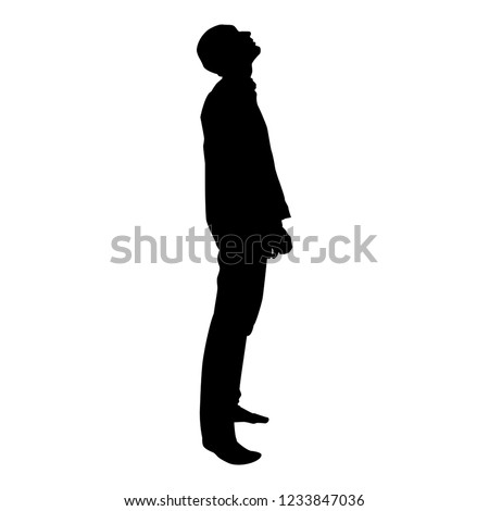 Man looks up silhouette icon black color