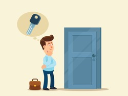 Man lost the key to the apartment. Person try to recalls where he left the keys to the house. Absent-minded, forgetfulness person. Vector illustration, flat design cartoon style. Isolated background.