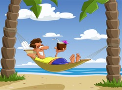 Man lying on a hammock, vector illustration