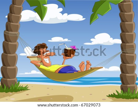 Man lying on a hammock, vector illustration - stock vector