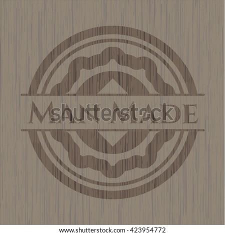 Man Made wooden emblem. Retro