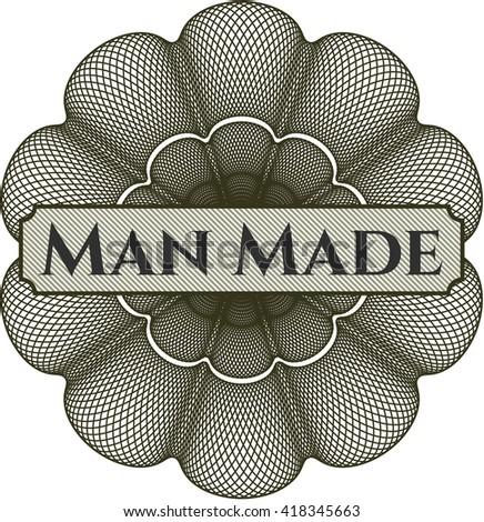 Man Made written inside abstract linear rosette