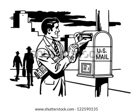 Man Mailing A Letter - Retro Clipart Illustration