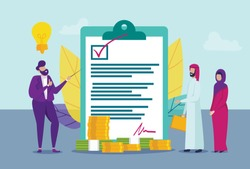 Man Makes Agreement with Arab Family. Vector Illustration. Сoin and Banknote. Saving. Favorable Conditions for Lending. Arab Family. Bank Worker. Broker and Client. Point out Contract.