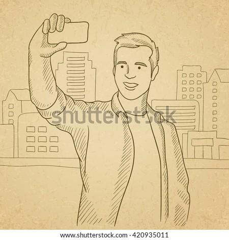 man making selfie