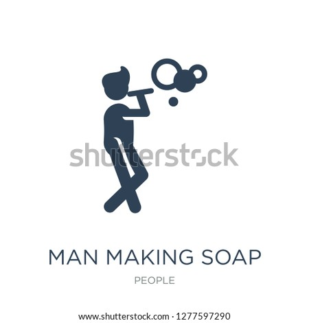 man making soap bubbles icon vector on white background, man making soap bubbles trendy filled icons from People collection, man making soap bubbles vector illustration