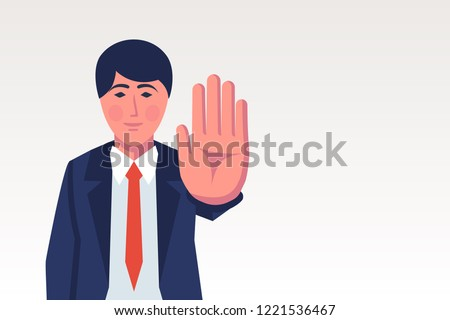 Man making stop gesture with hand. Big palm signaling stop. Vector illustration flat design. Isolated on white background.