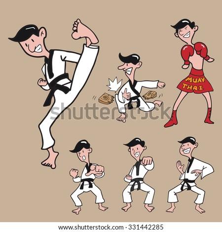 man martial art set cartoon