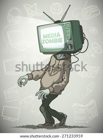 man media zombie with retro tv