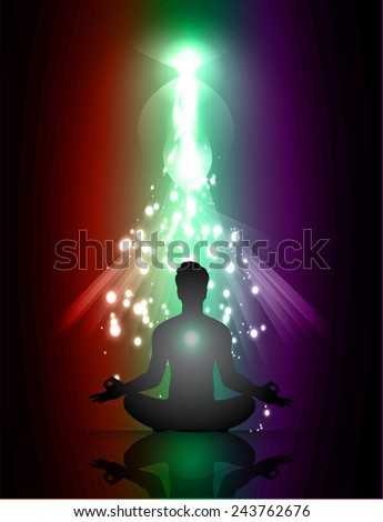 man meditate abstract green red purple radius light background, yoga.
