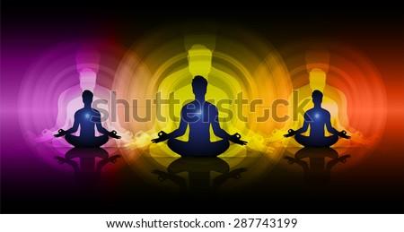 man meditate dark purple yellow red abstract circle background, yoga. beam. ray #287743199