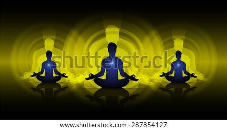 man meditate dark yellow abstract circle background, yoga. beam. ray #287854127