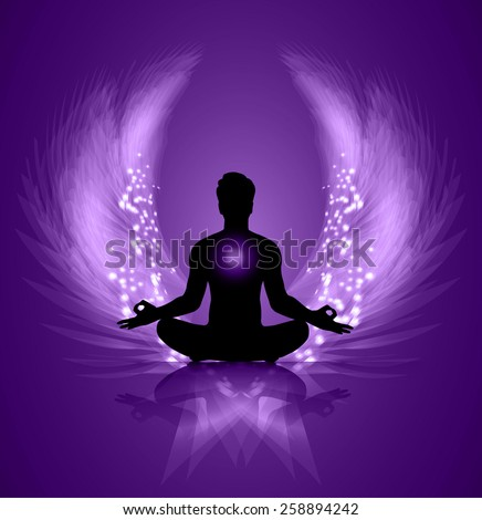 man meditate purple abstract radius background yoga angel wings