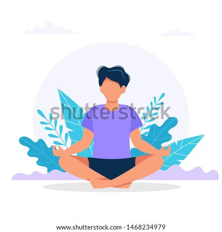 Man meditating in nature. Concept illustration for yoga, meditation, relax, recreation, healthy lifestyle. Vector illustration in flat cartoon style