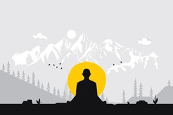 Man meditating in sitting yoga position on the top of a mountains  at sunset. Zen, meditation, peace, Vector illustrations