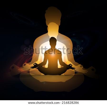 man meditation dark sparkling