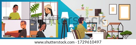 man meeting with mix race friends during video call coronavirus pandemic quarantine concept people having virtual fun live conference living room interior horizontal vector illustration