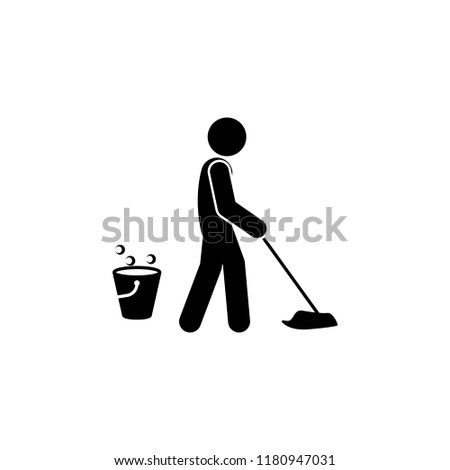 man mopping icon. Element of man cleaning icon for mobile concept and web apps. Glyph man mopping icon can be used for web and mobile