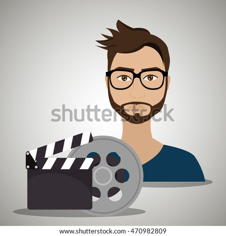 man movie video theater vector
