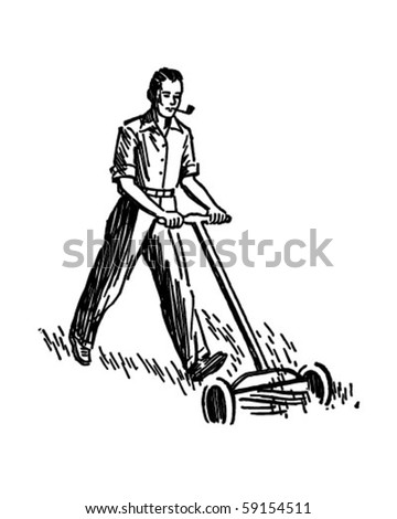 man mowing lawn   retro clip art