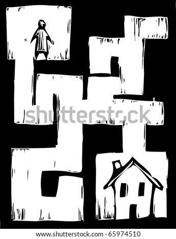 Man must travel through maze to get to house.