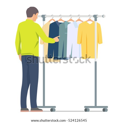 Man near rack with clothes. Vector isolated illustration on white background
