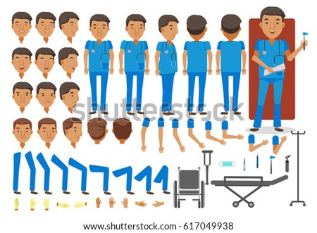 Man nurse character creation set. Icons with different types of faces and hair style, emotions, front,rear,side view of male person. Moving arms, legs. Vector illustration Isolated on white background