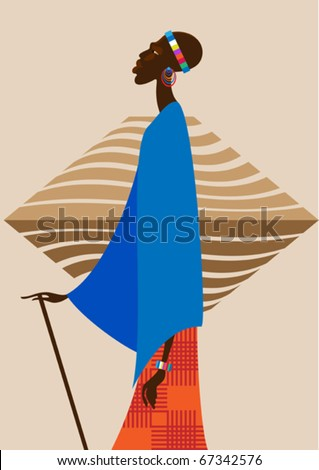 Man of the Masai in national dress with a spear in his hand