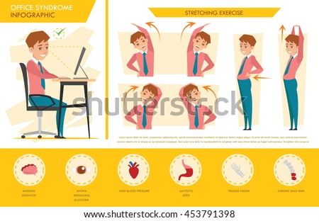 man office syndrome info graphic and stretching exercise