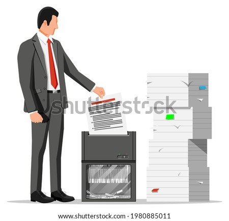 Man Office Worker Shredding Documents. Shredder Machine And Businesswoman With Confidential Paper. Office Device For Destruction Of Documents. Data Protection. Flat Vector Illustration Foto stock ©