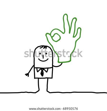 man & OK hand sign