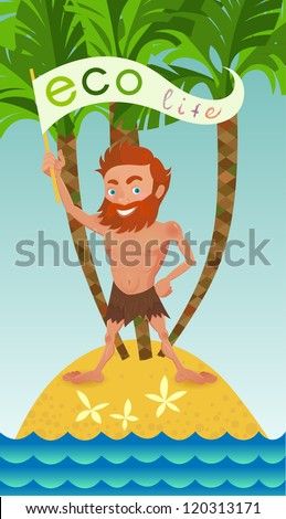 Man on a desert island.Illustration of the ecological theme.