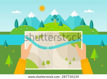 Man on a hiking trip holding a map in his hands. Nature landscape of mountains, hills, meadows and river. Hiking, camping, planning a trip illustration