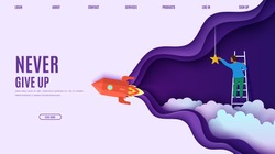 Man on a ladder to pick the star above cloud and red rocket in paper cut style. Cut 3d vector website template with flying ship papercut businessman climbs the stairs to the sky to get a star