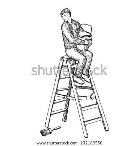 Man on a ladder with a bucket of paint