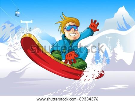 man on a snowboard jump
