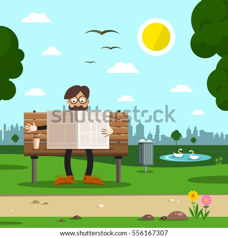 man on bench in city park