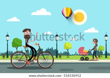 man on bicycle and young woman