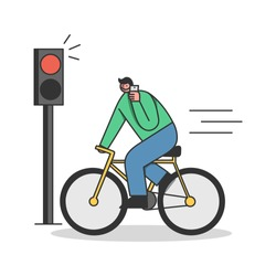 Man on bicycle riding on red light while speaking on mobile phone. Careless cyclist creating dangerous accident ignoring traffic light talking on cellphone. Carelessness on road. Vector illustration